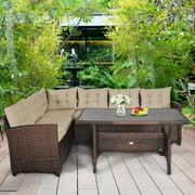 Gymax 3PCS Rattan Dining Sofa Set w/6 Cushioned Seats Patio Furniture