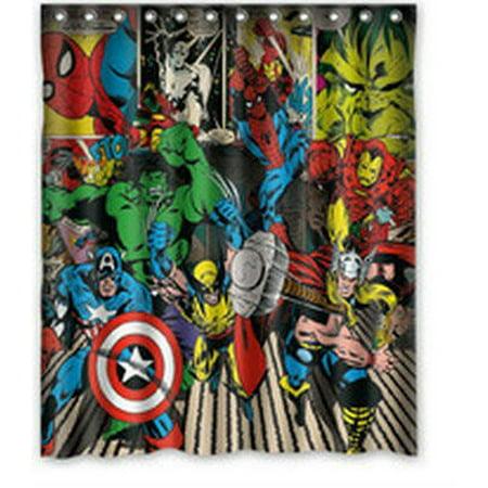 DEYOU Captain America Hulk Spider Man Shower Curtain Polyester Fabric Bathroom Size 60x72 Inch