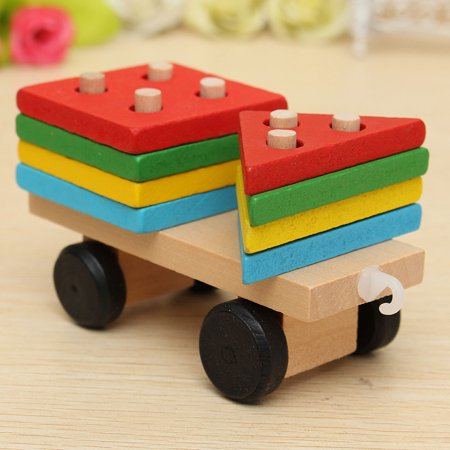 Wooden Building Blocks Stacking Train Peg Puzzles Games Toddlers Educational Baby Kid Children Boy Girl Development Toys Gift - image 11 de 12