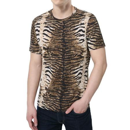 Unique Bargains Men's Summer Crew Neck Stretchy Leopard Prints Short Sleeve T-Shirt