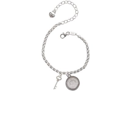 Small Clear Ab Crystals Oval Key Nevertheless She Persisted Engraved Bracelet
