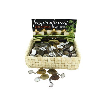 Inspirational Zen Stones Keychains Counter Top Display (Pack Of 72) - Inspirational Keychains