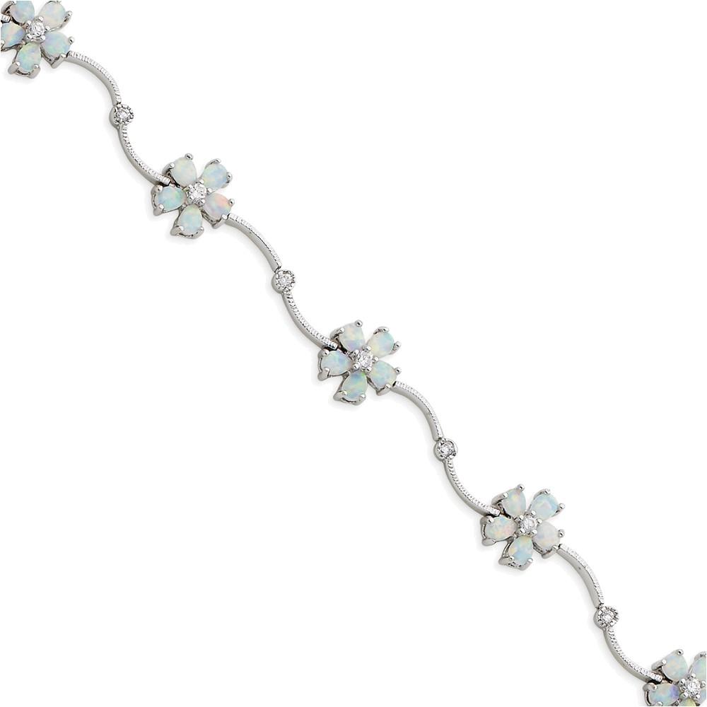 Sterling Silver 7inch Created Opal & Cubic Zirconia Flower Bracelet by