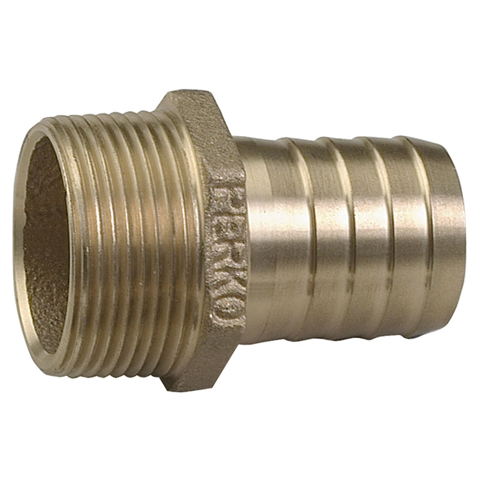 "Perko 0076009PLB Cast Bronze 2-5/8"" Straight Pipe to Hose Adapter with 2"" NPT Pipe for 2"" Hose"