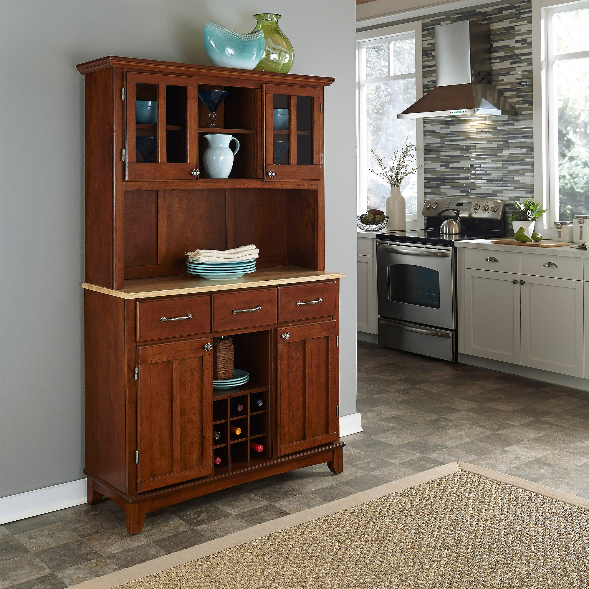 Home Styles Large Buffet & Two-Door Hutch, Cherry Finish with Natural Buffet Top