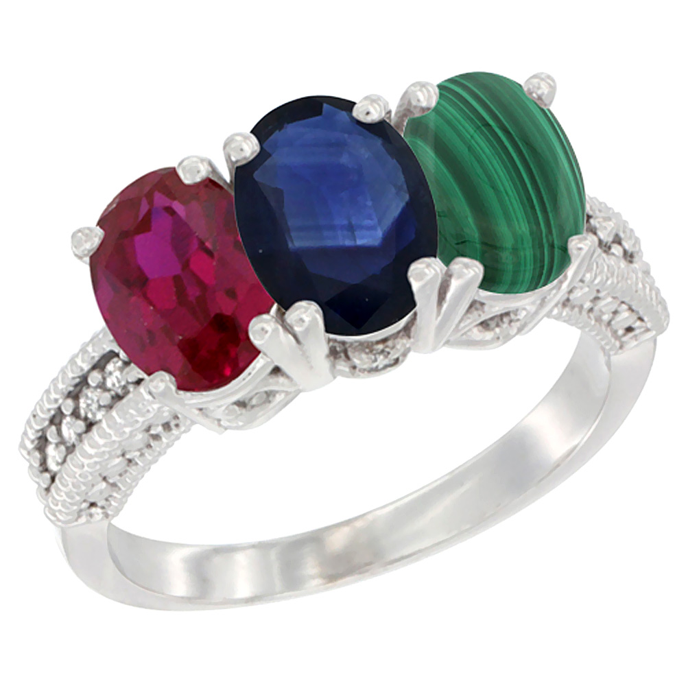 10K White Gold Enhanced Ruby, Natural Blue Sapphire & Malachite Ring 3-Stone Oval 7x5 mm Diamond Accent, sizes 5 10 by WorldJewels