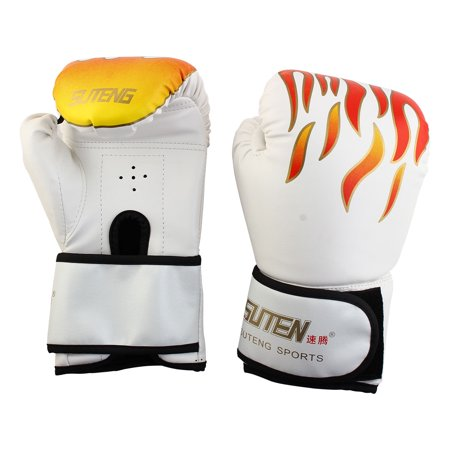 SUTENG Authorized PU Fire Print Boxing Gloves Sparring Punching Bag White Pair - Boxing Costumes
