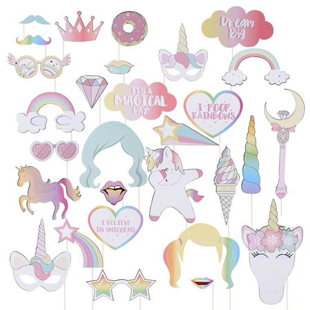 KABOER Unicorn Rainbow Unicorn 29 Pony Photo Props - Unicorn Party Favors,Rainbow Unicorn Photo Props for Birthday Party,Wedding Party, Dress-up Accessories](Rainbow Unicorn Birthday Party Supplies)
