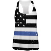 0d7df7366a877 Product Image 4th of July Distressed Thin Blue Line American Flag Womens  Work Out Tank Top