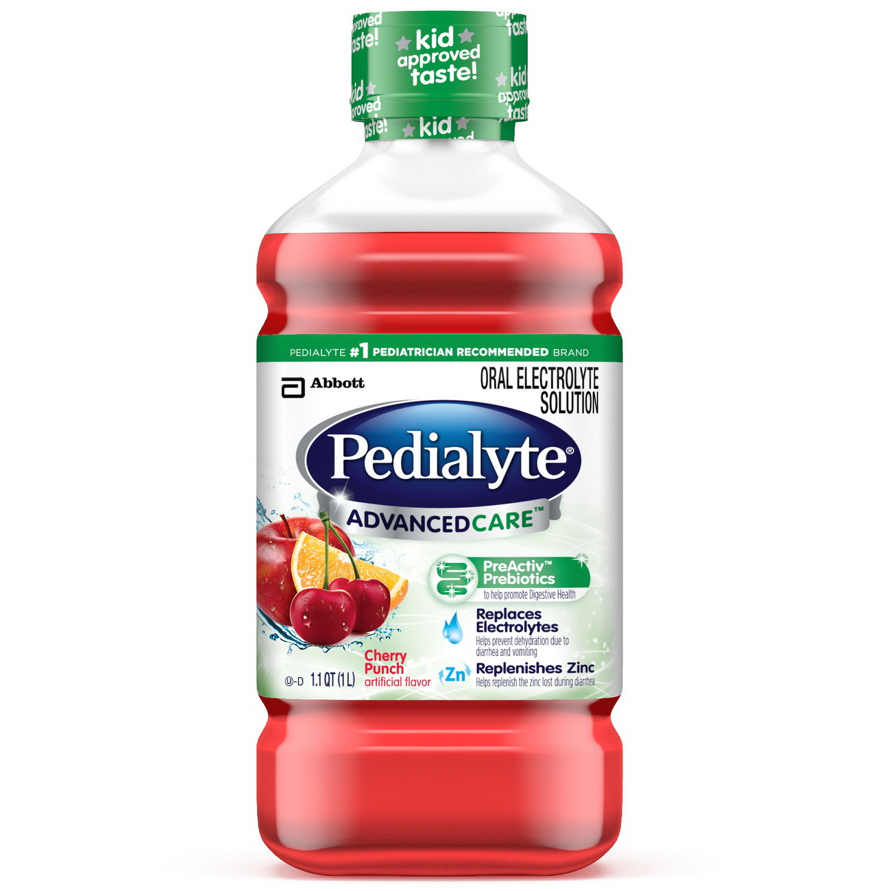 Pedialyte Advanced Care Oral Electrolyte Solution, Cherry Punch, 1-L