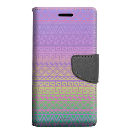 LG Rebel 2 Wallet Case - Aztec Andes Purple Tribal on Rainbow Case