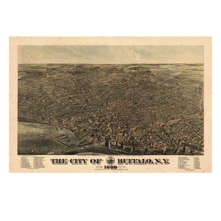 Buffalo 1880 Bird's Eye View, New York, United States Print Wall - Buffalo New York Halloween Events