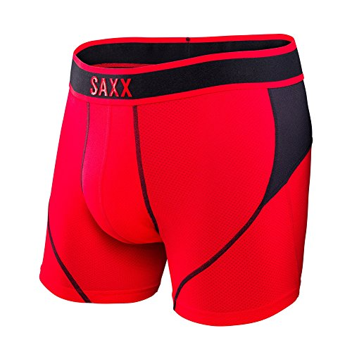 Saxx Mens Kinetic Performance Boxers Underwear Large Black Red