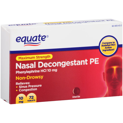 Equate Maximum Strength Non-Drowsy Nasal Decongestant PE Tablets, 10mg, 72 count