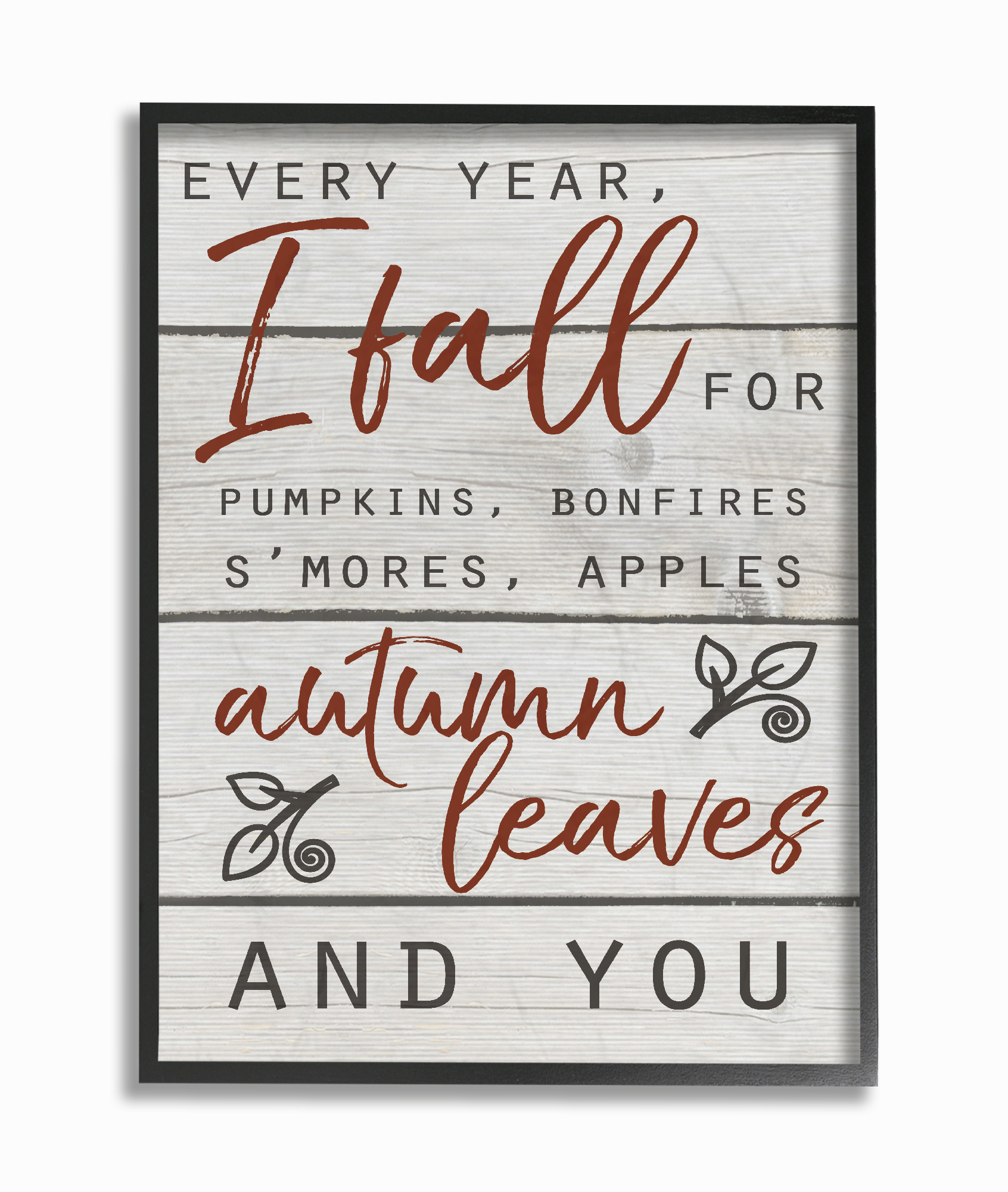 The Stupell Home Decor Collection Every Year I Fall For You Red and Grey Typography Framed... by Stupell Industries