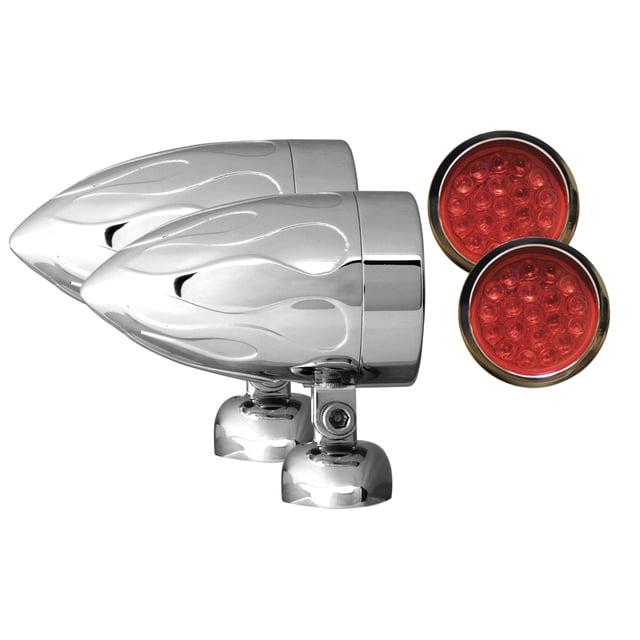 "Adjure NS24015-R3 BEACON-2 BULLET LIGHTS (2 1/4"" DIAMETER) RED LENS LED TARGET FLAMED HOUSING DIAMOND MOUNT 3 WIRE"