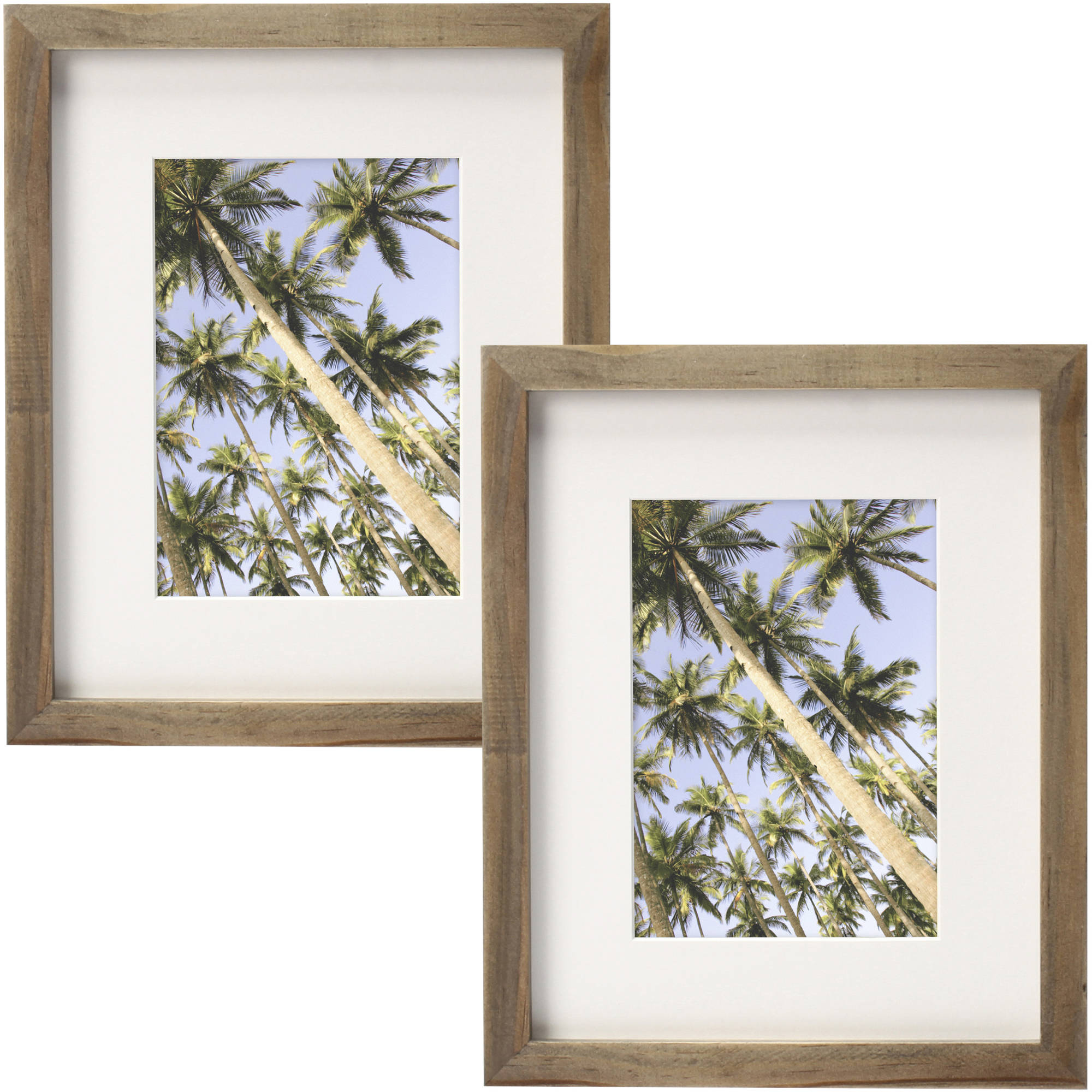 """Better Homes and Gardens Gallery 8"""" x 10"""" (20.32 cm x 25.4 cm) Matted to 5"""" x 7"""" (12.7 cm x 17.78 cm) Solid Wood Picture Frame, Natural Rustic, Set of 2"""