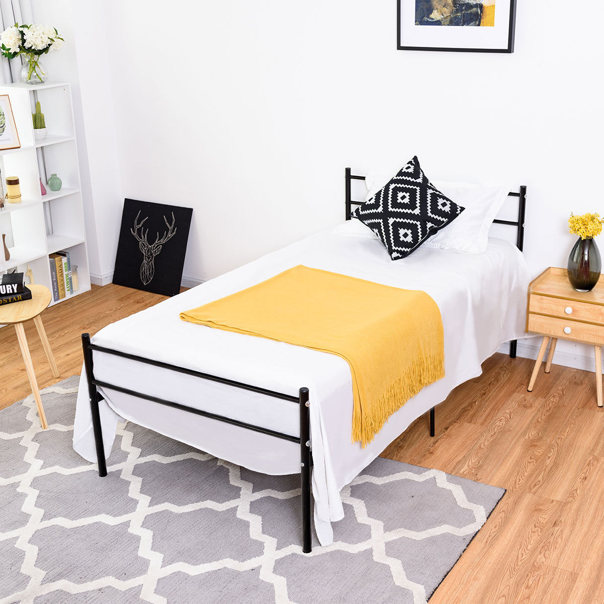 Costway Black Twin Size Metal Bed Frame Platform 6 Legs Headboards