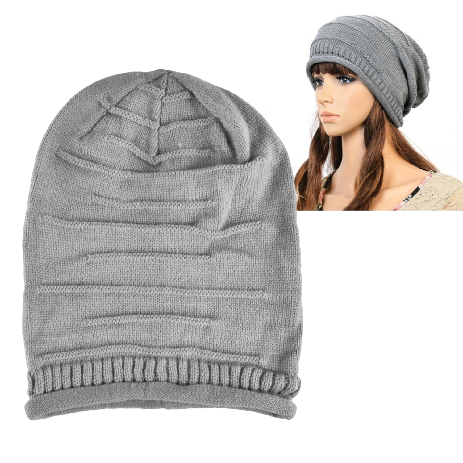 Zodaca Gray Solid Color Fashion Unisex Knit Baggy Beanie Hat Winter Warm Oversized Ski Cap