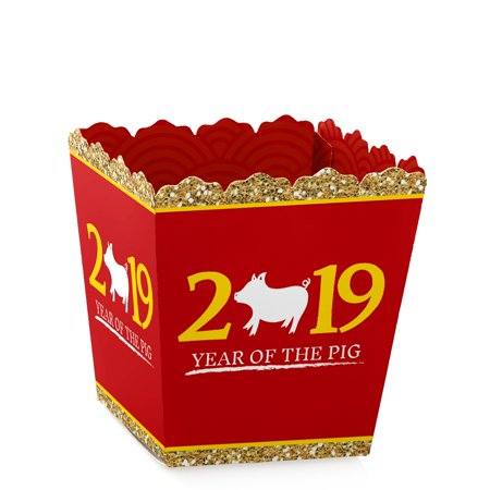 Chinese New Year - Party Mini Favor Boxes -2019 Year of the Pig Party Treat Candy Boxes - Set of 12