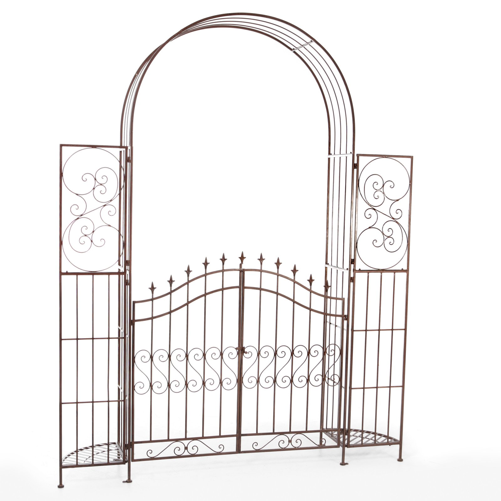 Belham Living Gated Hodgson Garden Metal Arbor with Planter Stands by 4 Seasons Global Inc