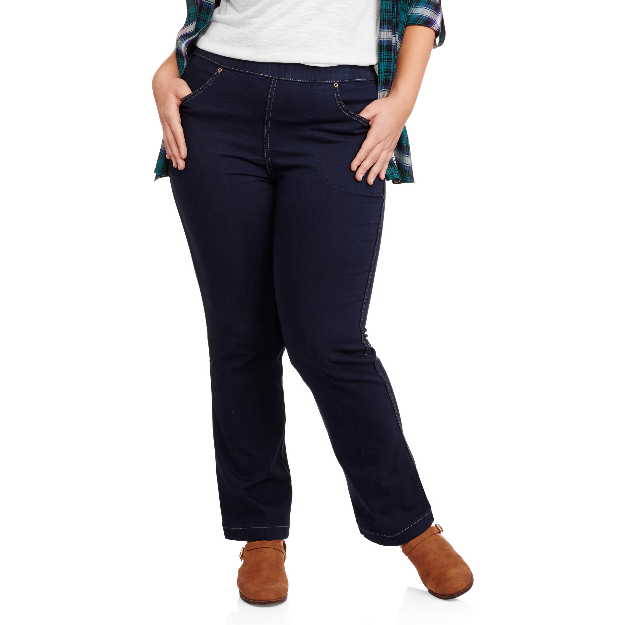 Just My Size Women's Plus-Size 4 Pocket Pull On Bootcut Stretch Jeans, Available in Regular and Petite Lengths