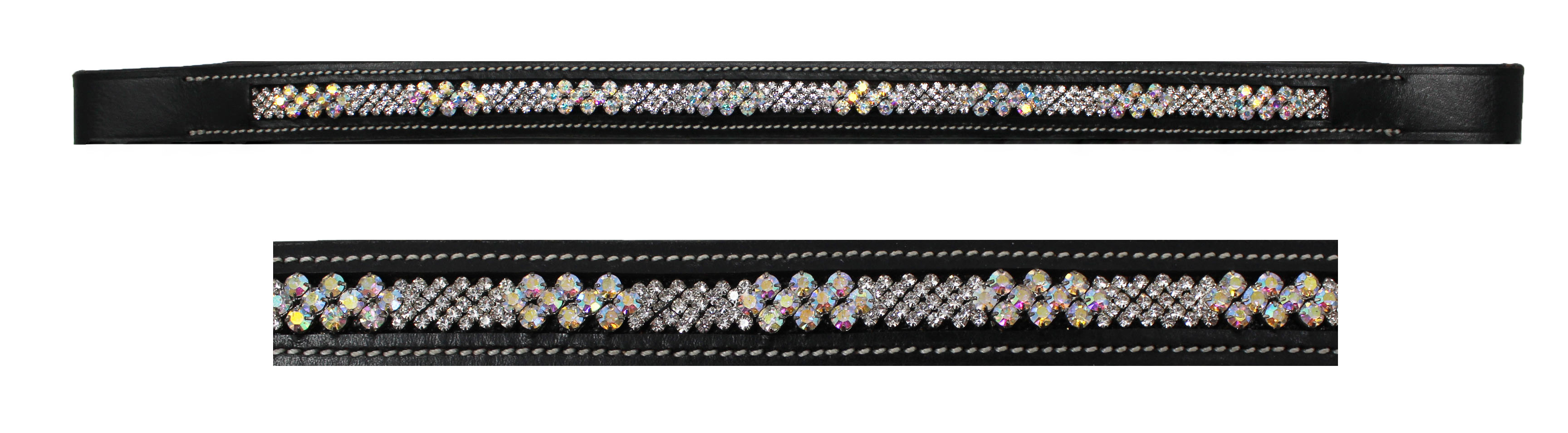 HIGH QUALITY GENUINE EMPTY CHANNEL BLACK  LEATHER BROWBAND Size All Discount 5/%