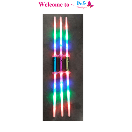 LWS LA Wholesale Store  1 Galactic Wars Dual Lightsaber 2 Sided Double Light Up Kids Star Toy Sword &  ** 1 Free miniature figures - Double Sided Light Saber