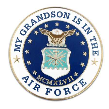 - My Grandson is in the US Air Force Military Enamel Lapel Pin
