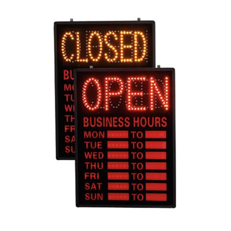 Open/Closed LED Sign With Hours (Dry Erase Hours) Dry Erase Directional Sign