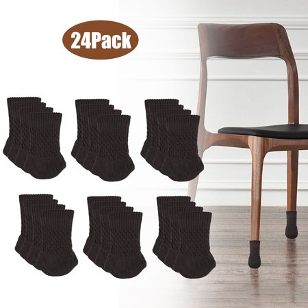 TSV Chair Socks 24PCs Furniture Feet Socks Covers - High Elastic Knitted Chair Leg Floor Protectors, Non Slip Furniture Booties Set ()