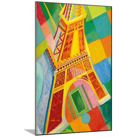 Eiffel Tower, 1926 1920s Colorful Futurist French Architecture Painting Wood Mounted Print Wall Art By Robert Delaunay