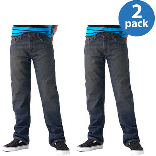 Signature by Levi Strauss & Co. Boys' Husky Straight Jeans 2 Pack Value Bundle