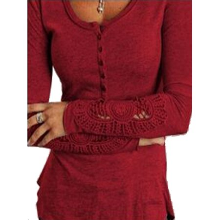 Womens Embroidery Crochet Lace Hollow Out Sleeve Button Blouses (Crochet Button)