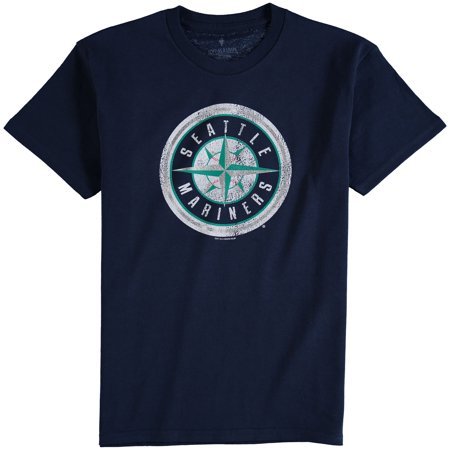 Seattle Mariners Youth Distressed Logo T-Shirt - Navy Blue