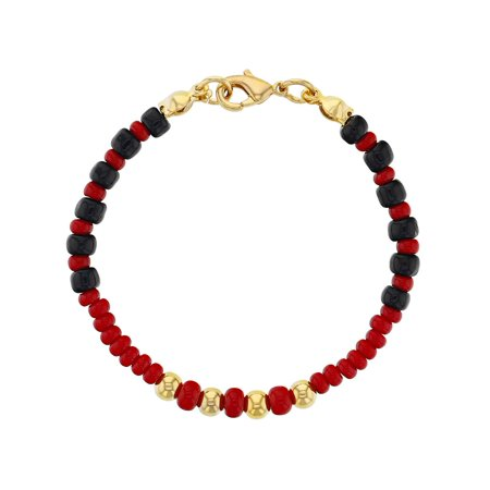 18k Gold Plated Evil Eye Baby Bracelet Protection Black Red Beads 5