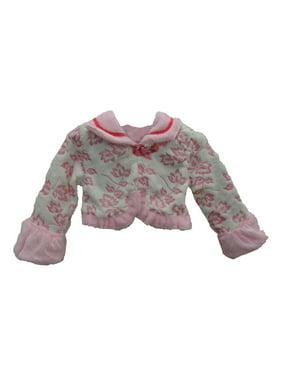 Little Girls Pink Leaf Pattern Soft Beautiful Design Faux Fur Jacket