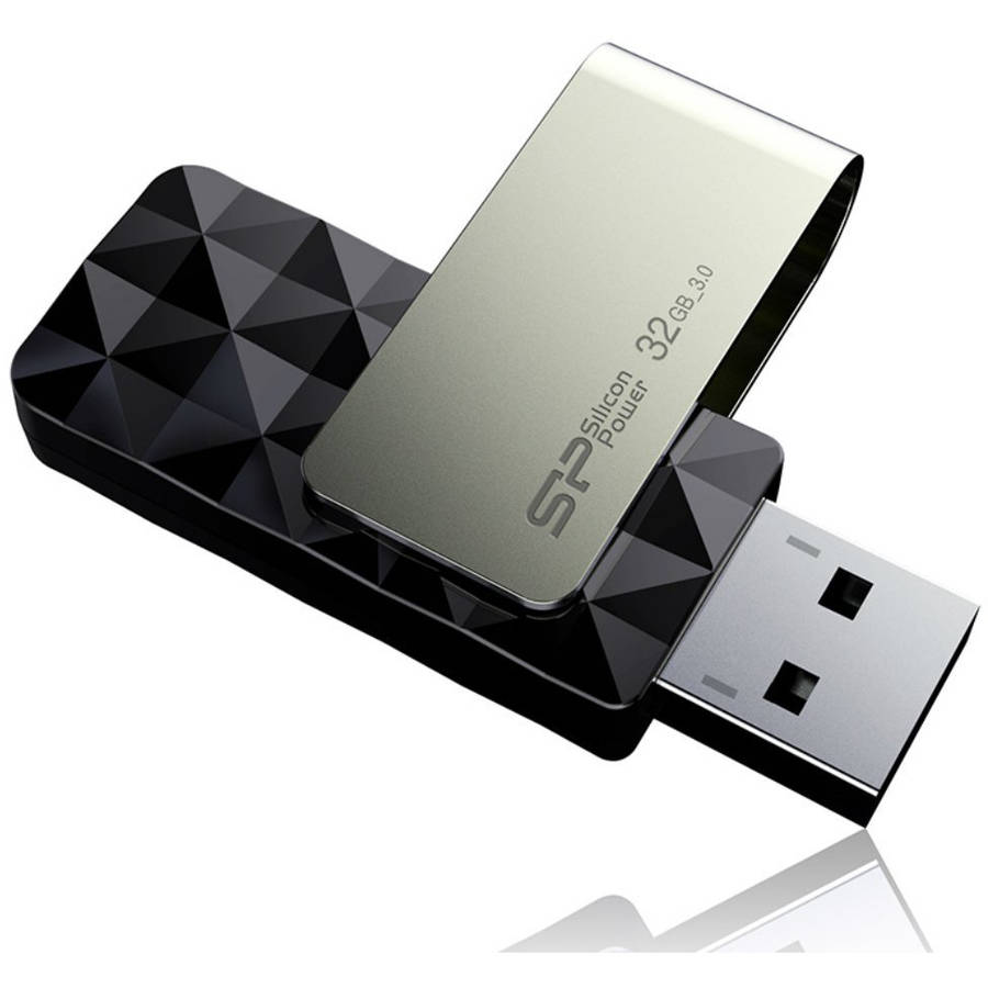 Silicon Power 32GB Blaze B30 USB 3.0 Swivel Flash Drive, Black