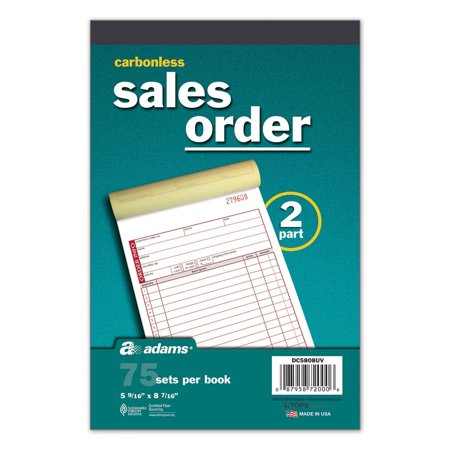 Carbonless 2 Part Sales Order Forms, 5 Books/75 Sets Per Book, Wrap Around Cover Prevents Write Through By Adams