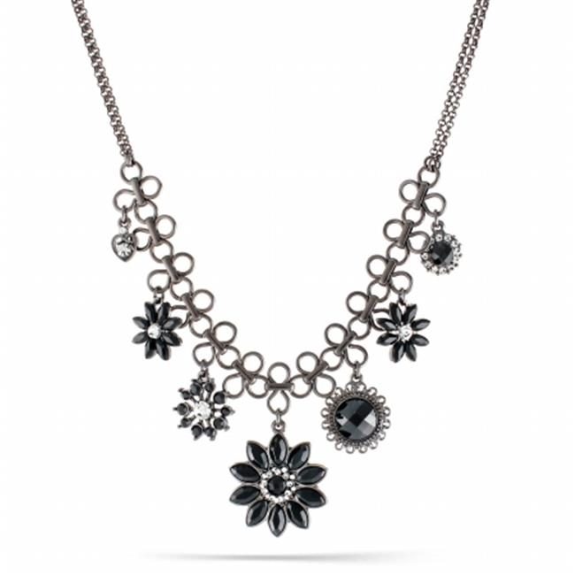 Eshopo 0900000026164 Hematite-Tone Metal Black Faceted Stone And White Crystal Drop Necklace