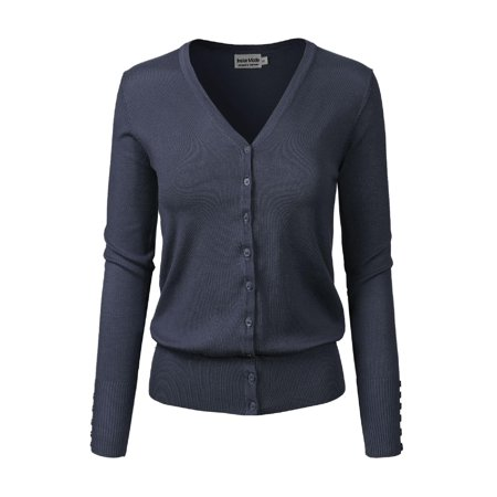 Made by Olivia Women's Classic Button Down Long Sleeve V-Neck Soft Knit Sweater Cardigan [S-3XL] Navy Blue - Plus Cable Knit Trim Sweaters