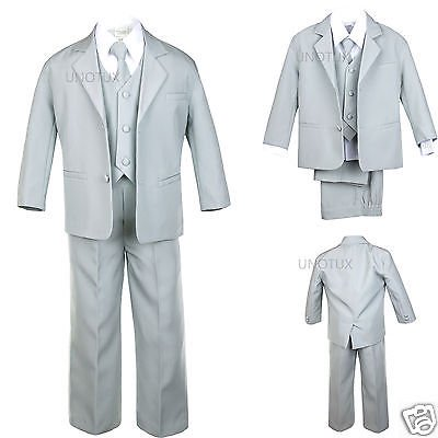 BABY, TODDLER & BOY WEDDING  PARTY FORMAL no tail TUXEDO SUIT LT. GRAY  S -20 - Tux With Tails
