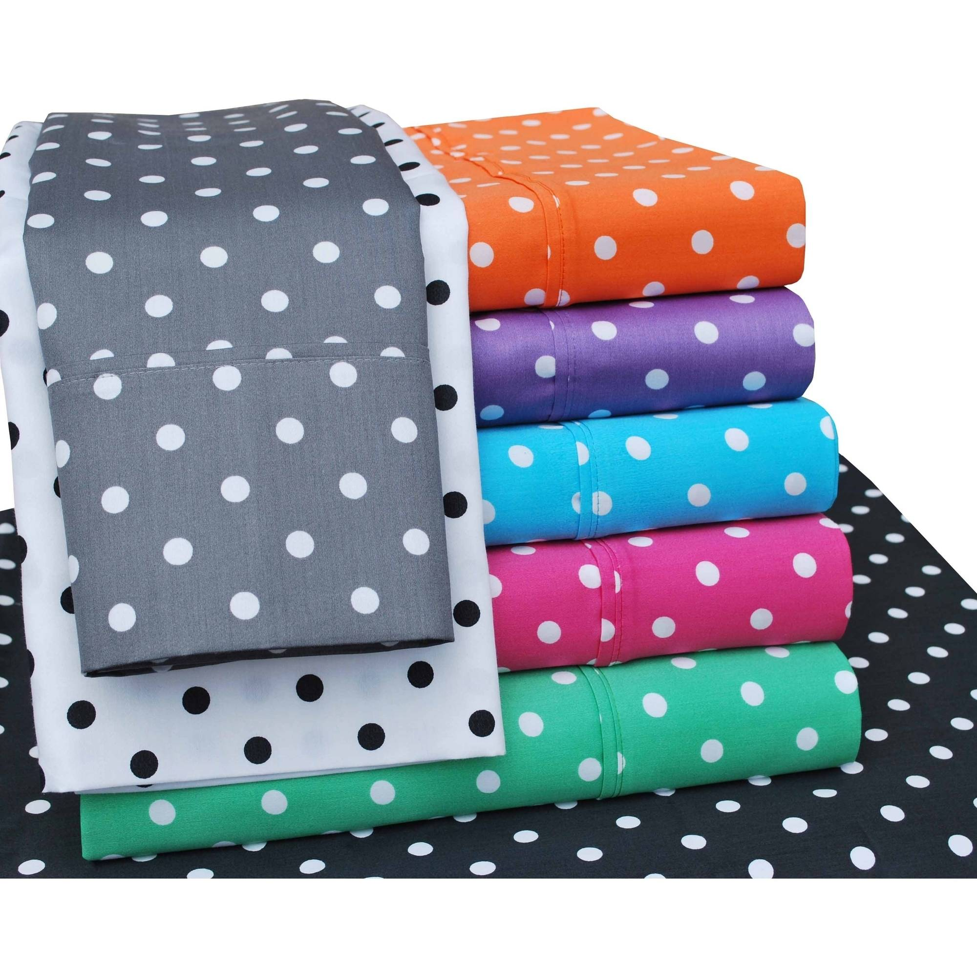 Superior 600 Thread Count Wrinkle-Resistant Luxury Cotton Polka Dots Design Sheet Set