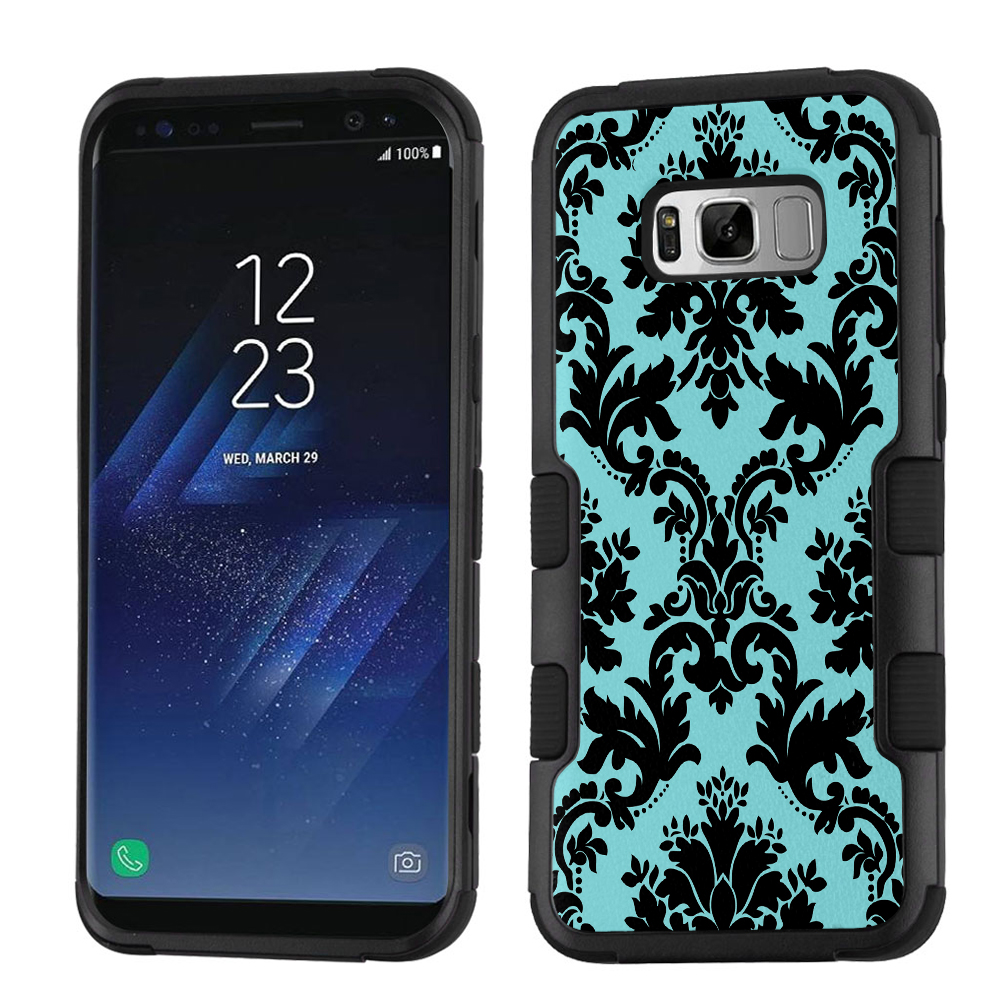 Fit Galaxy S8, One Tough Shield 3-Layer Hybrid Shock Absorbing Phone Case for Samsung Galaxy S8 - Victorian Blue/Black