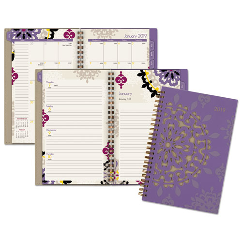 "Cambridge Vienna Weekly/Monthly Planner, 12 Months, January Start, 4 7/8"" x 8"", Purple (122-200-19)"