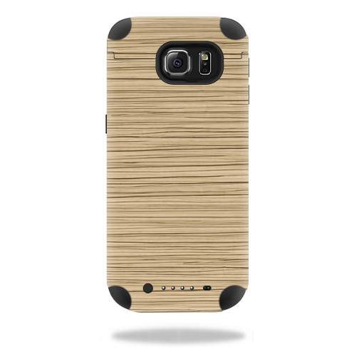 MightySkins Protective Vinyl Skin Decal for Mophie Juice Pack Samsung Galaxy S6 wrap cover sticker skins Light Zebra Wood