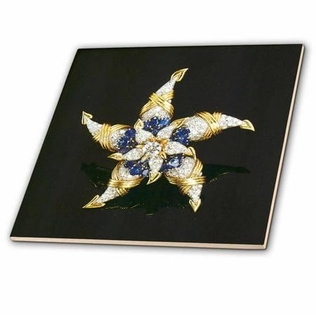 - 3dRose Diamonds and Blue Sapphire Star - Ceramic Tile, 4-inch