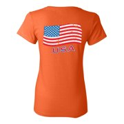 Awkward Styles USA Ladies Shirt Memorial Day Pro America Heart T shirt for Her Stripes and Stars American Flag Gifts Pro America Lovers T shirt for Women USA Flag Gifts USA Print on the Back Only