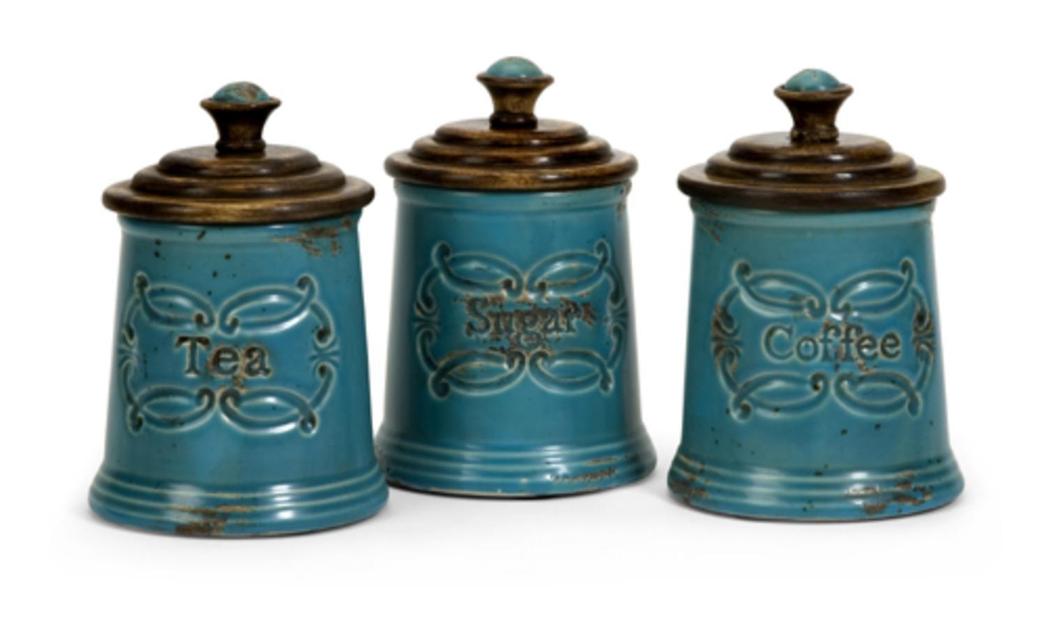 Set of 3 Sugar Tea Coffee Distressed Country Canisters - Walmart.com