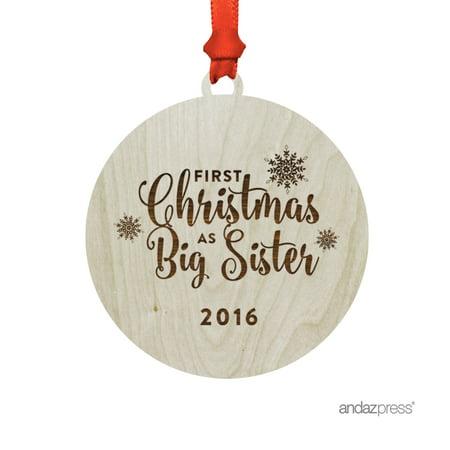 Big Christmas Gifts (Laser Engraved Wood Christmas Ornament with Gift Bag, First Christmas as Big Sister)